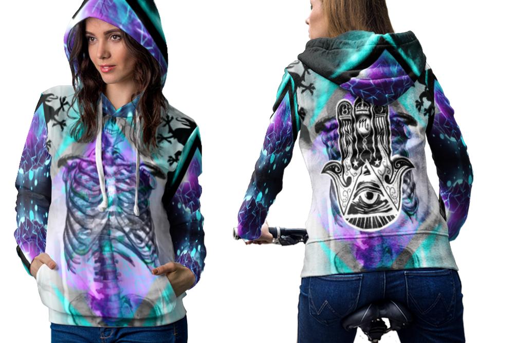 Illuminati all seeing eye hoodie women