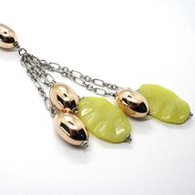 Silver 925 Necklace, Ovals Pink, Jasper Green Wavy, Pendant Bunch image 2