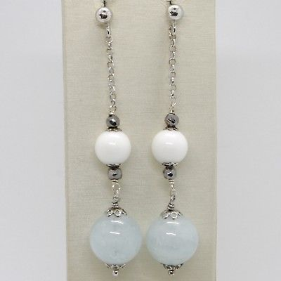925 STERLING SILVER PENDANT EARRINGS WITH BIG AQUAMARINE 13 MM AND WHITE AGATE