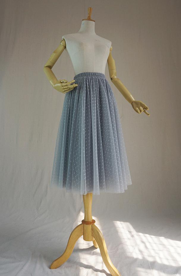 Gray tulle skirt midi 3