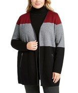 Charter Club Plus Size Milano Color Blocked Cardigan, Deep Black Combo, 1X - $35.10