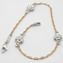 18K ROSE & WHITE GOLD BRACELET SMOOTH BRIGHT DAISY FLOWER, MARINER LINK, ITALY image 1