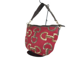 GUCCI Horse Bit Canvas Leather Red Shoulder Bag GS2206 - $259.00