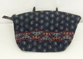 Vera Bradley Cosmetic Bag Pouch Classic Navy Lined Makeup Medium Retired 1998 - $14.80