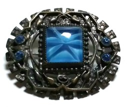 VINTAGE ART DECO SMALL BLUE FAKE STAR SAPPHIRE GLASS RHINESTONE  PIN - $40.00