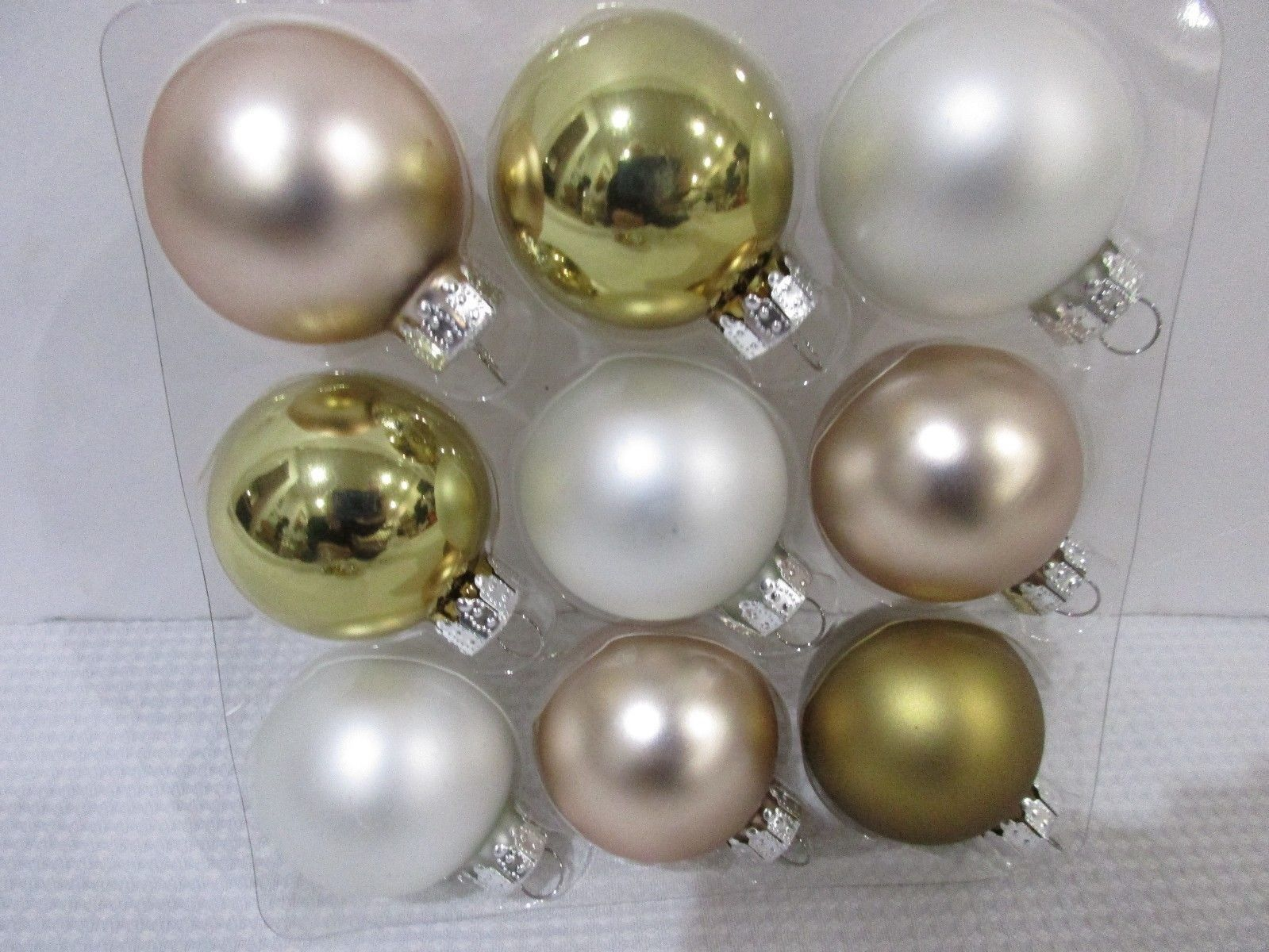 "Primary image for Christmas Shabby Chic MINI  White Rose Gold Glass Ball Ornaments 1.5"" Set of 9"