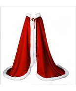 Vintage Red  Warm Bridal Cape Winter Fur Women Jacket Brial Long Weddin... - $60.00+