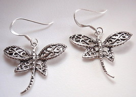 Dragonfly Filigree Dangle Earrings 925 Sterling Silver Corona Sun Jewelry - $14.84