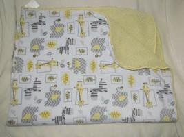 Just Born Baby Blanket Jungle Animal Gray White Yellow Sherpa Chevron Zi... - $19.79
