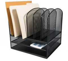 AdirOffice Black Wire Mesh Upright Section Desk Organizer - $39.99