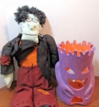 lot of 2 Halloween decorations Home Decor-frankenstein stuffed doll  tre... - $26.73