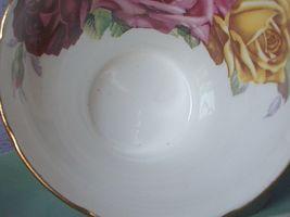 Vintage Aynsley Large pink yellow roses tea cup, Green Bone china teacup image 10