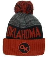Oklahoma OK Patch Ribbed Cuff Knit Winter Hat Pom Beanie BURGUNDY/BLACK ... - $11.95