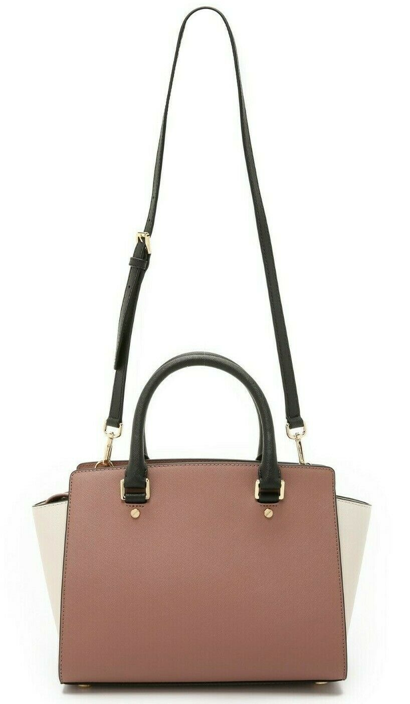MICHAEL KORS SELMA ROSE PINK BLACK ECRU SAFFIANO LEATHER CROSSBODY SATCHEL*NWT image 6