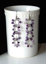 NEW HAND CRAFTED SILVER WIRE WRAPPED PIERCED EARRINGS W/AMETHYST GLASS B... - $15.35
