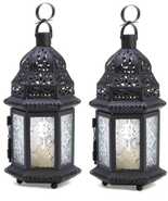 CLEAR GLASS Moroccan Lanterns Small Black Metal Set of 2 - $23.09