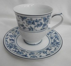 NORITAKE ARCADIA 2604 BLUE WHITE FLORAL COFFEE CUP SAUCERS 4 SETS RARE - $25.24