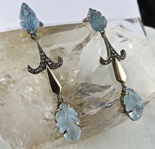 BLUE AQUAMARINE CARVED DIAMOND 18K GOLD & 925 SILVER VICTORIAN EARRING - $347.00