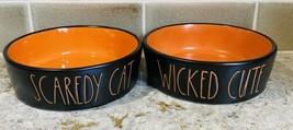 Rae Dunn Wicked Cute & Scaredy Cat Small Halloween Ceramic Bowl Set Cat ... - $24.70