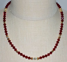 VTG Gold Tone Red Clear Crystal Glass Bead Beaded Choker Necklace - $29.70