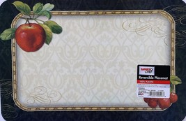 PLASTIC PLACEMATS Set of 4 Reversible Apple Mixed Fruit Grapes Cherry Place Mat image 2