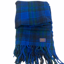 Vintage Pendleton Wool Throw Blanket Blue Green Brown Plaid Fringe 70x50 - $130.57