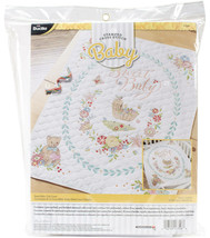 "Sweet Baby Crib Cover Stamped Cross Stitch Kit New Bucilla 34"" x 43"" Pre-Quilted - $69.29"