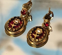 VTG Dainty Gold Tone and Red Flower Motif Dangle Pierced Earrings w/Rhin... - $12.00