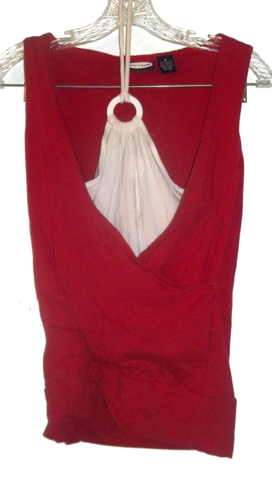 Primary image for Size M - Zoey Beth Red Tank Top w/White Halter Insert
