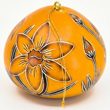 Handcrafted Carved Gourd Art Spring Daffodil Flower Floral Ornament Made in Peru image 2