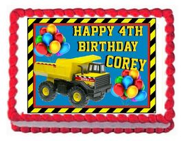 CONSTRUCTION TRUCK TONKA edible party cake topper cake image sheet decor... - $8.98+