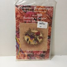 """Butterfly's Delight Silk Ribbon Embroidery Kit  1"""" x 2"""" Oval Booch Pin - $9.74"""