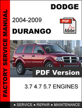 DODGE DURANGO 2004 2005 2006 2007 2008 2009 SERVICE REPAIR WORKSHOP MANUAL - $14.95