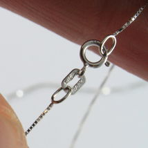 18K WHITE GOLD CHAIN NECKLACE 0.5 mm MINI VENETIAN LINK 15.75 40CM MADE IN ITALY image 3