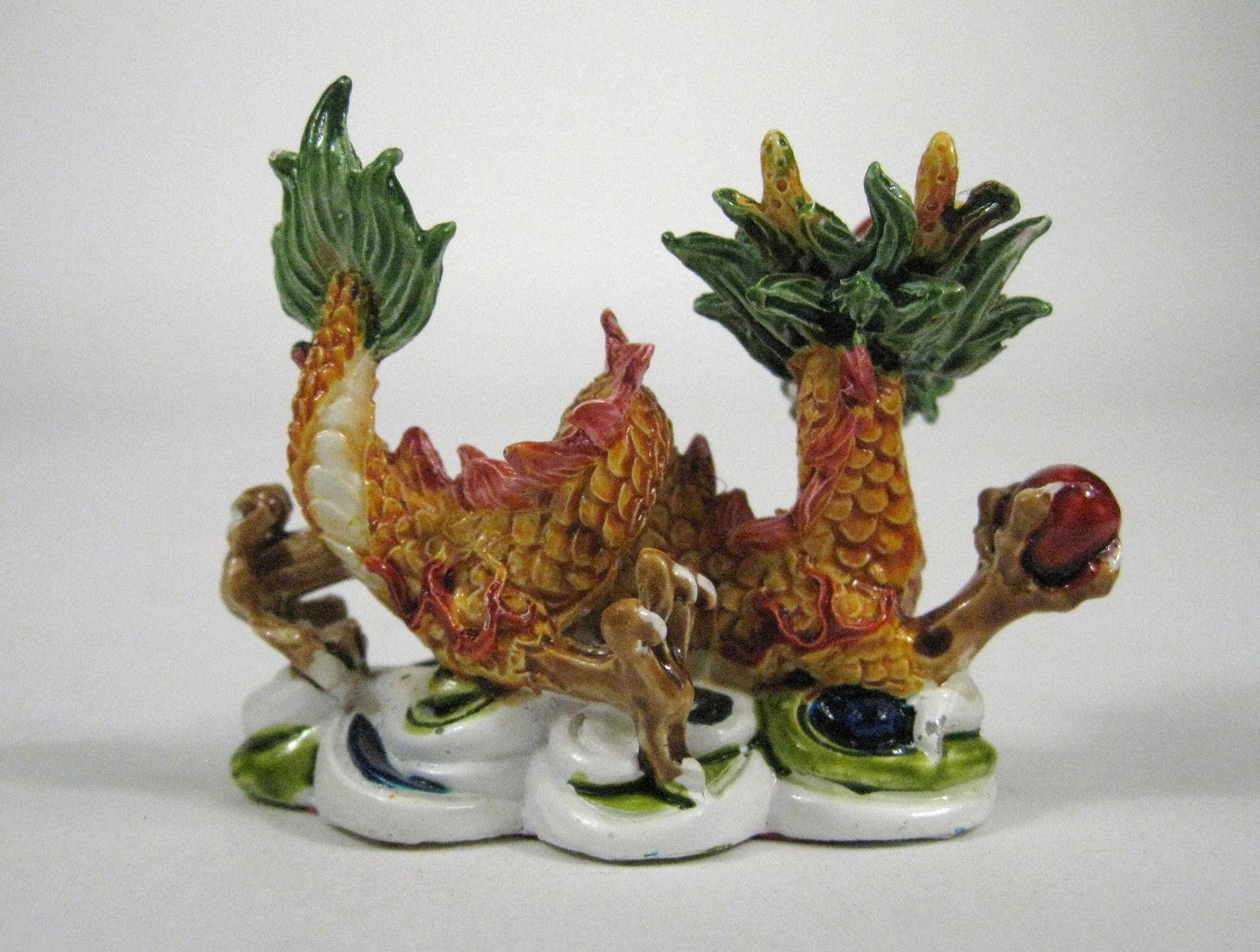 Dragon Figurine Sculpture Asian Ceramic Pottery Size 2 Inch Glazed Statue