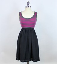 Anthropologie One September Walk-A-Ways Dress Black Silk Gray Striped Ta... - $49.99