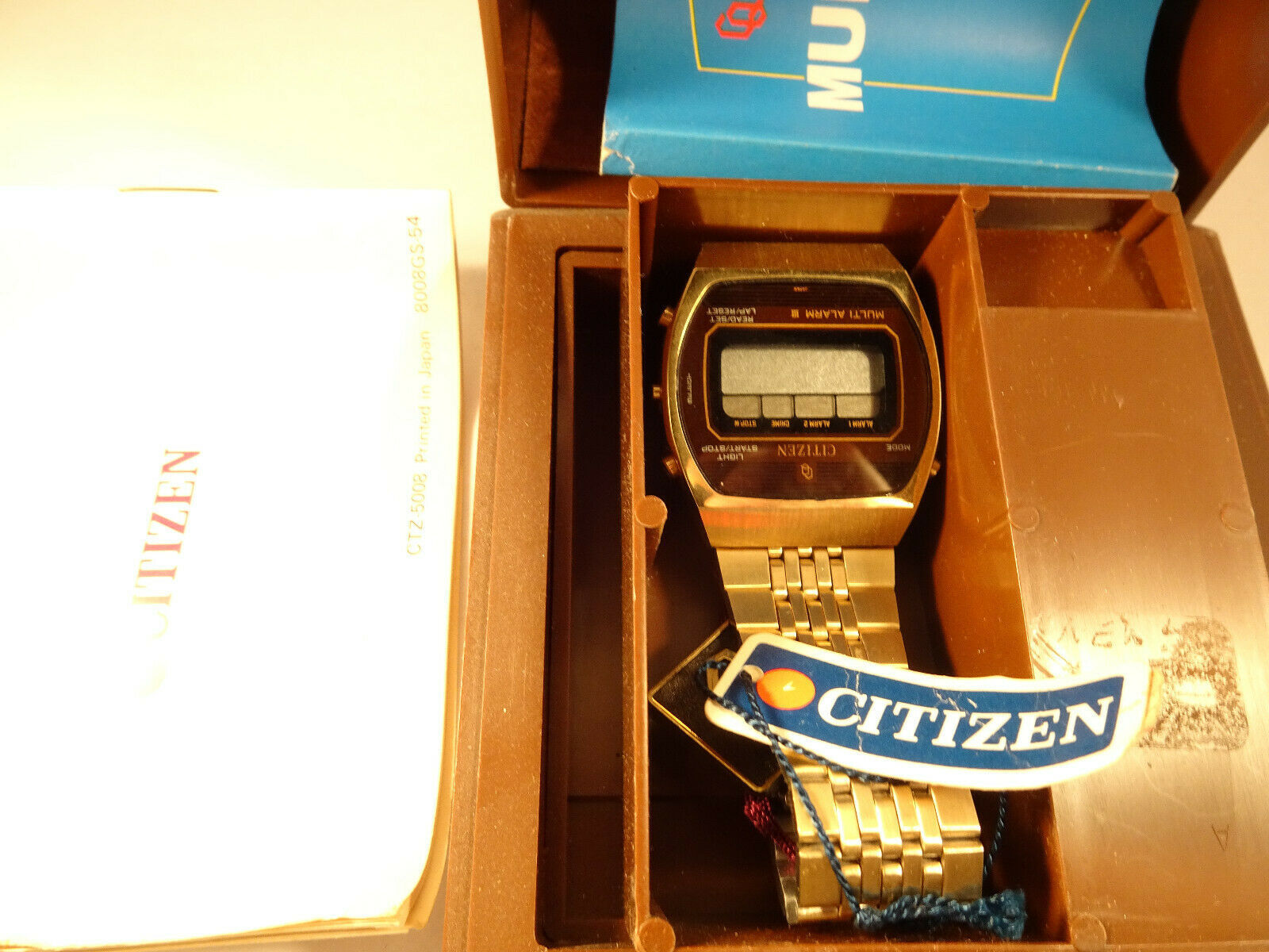 Primary image for VINTAGE NOS 1980 CITIZEN LCD MULTI ALARM SLIM WATCH FOR RESTORATION IN BOX
