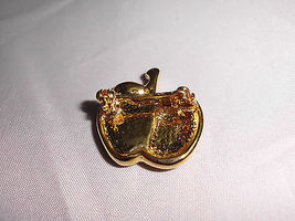 VTG Gold Tone Apple with Clear White & Green Rhinestone Pin Brooch image 4