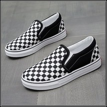 Checkered Black and White Casual Slip On Flat Canvas Sneaker Loafers image 3