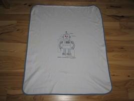 "Vintage Gymboree 2004 Robot Baby Boy Blanket White Blue Cotton 32 x 36"" - $79.19"