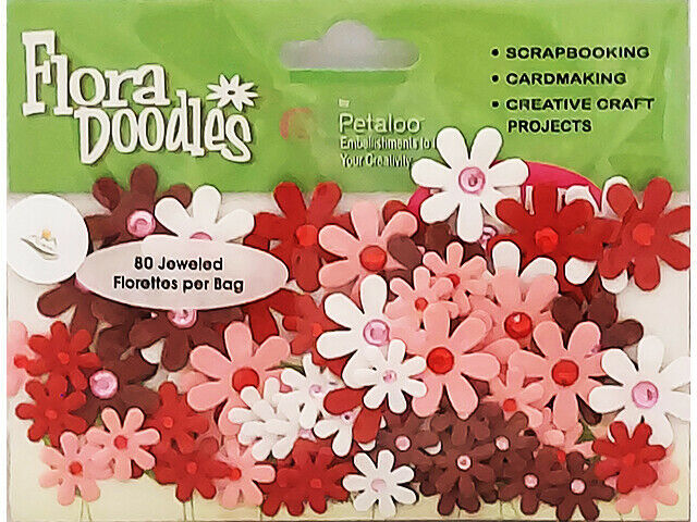Petaloo Flora Doodles Red, Pink and White Hand-Made Paper Flowers #1350-401