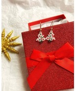 Mini Christmas Tree Earrings - white edition - $6.00