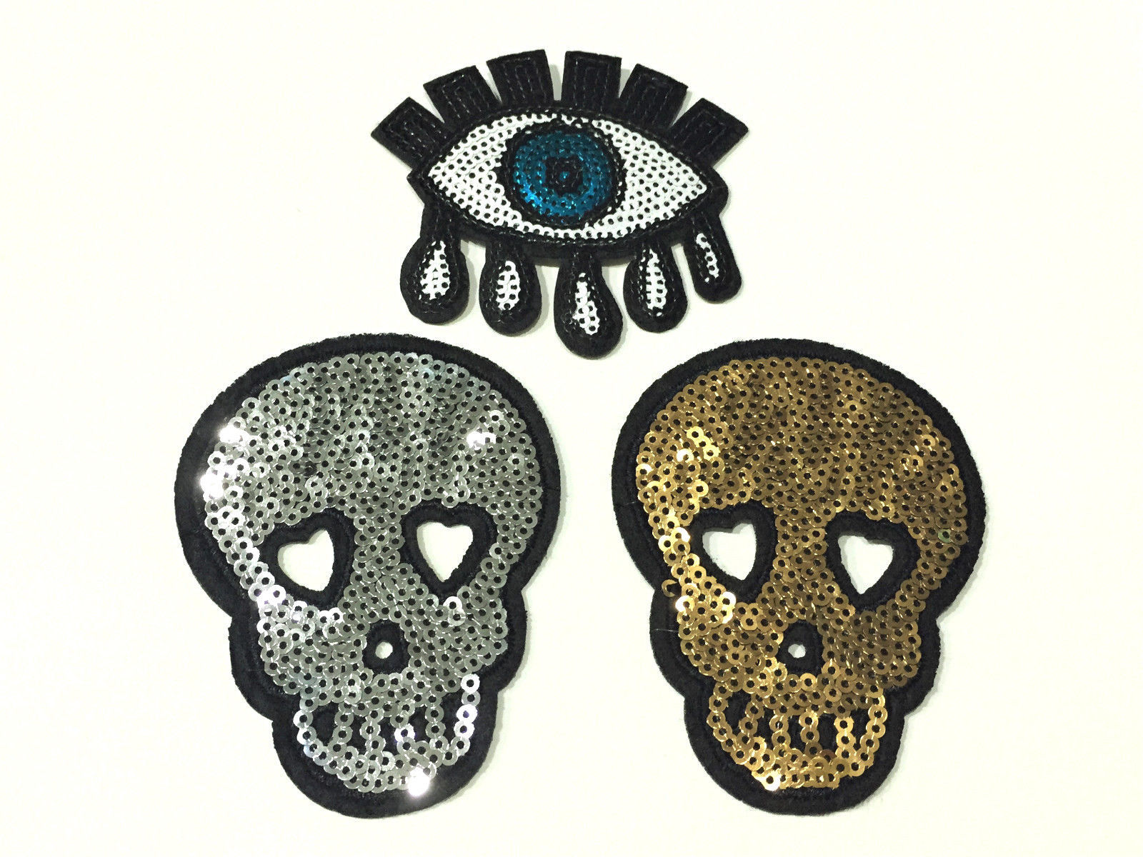 "Primary image for 3"" Silver Sequin Gold Dress Fabric Skull Tear Eye Embroidered Iron On Patch New"