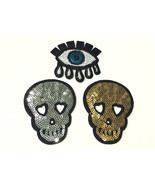 "3"" Silver Sequin Gold Dress Fabric Skull Tear Eye Embroidered Iron On Pa... - £12.86 GBP+"