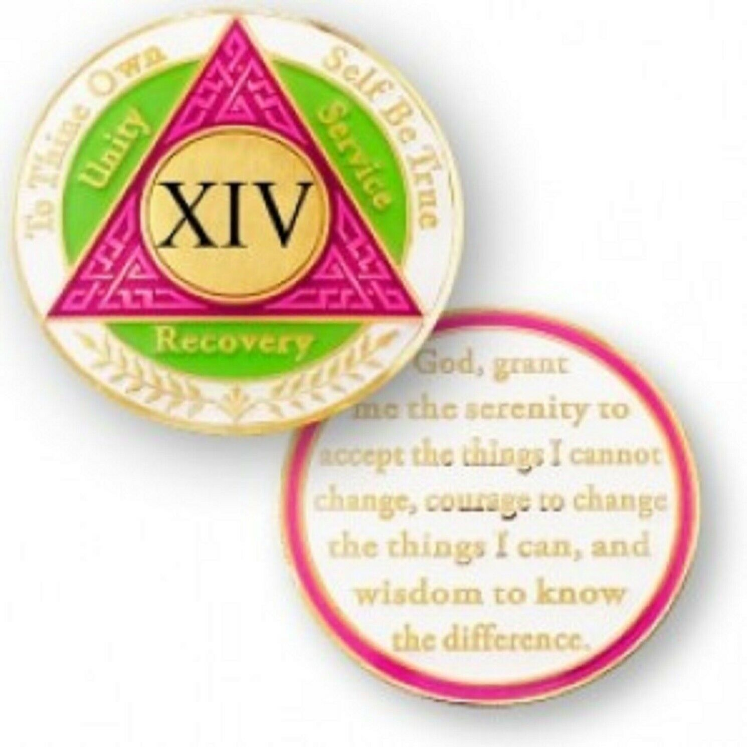 Primary image for 14 YEAR SOBRIETY  AA RECOVERY PINK GREEN WHITE 18K GOLD GP  CHALLENGE COIN