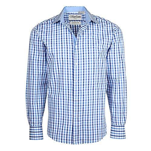 Men's Checkered Plaid Dress Shirt - Dark Blue, Large (16-16.5) Neck 32/33 Sleeve