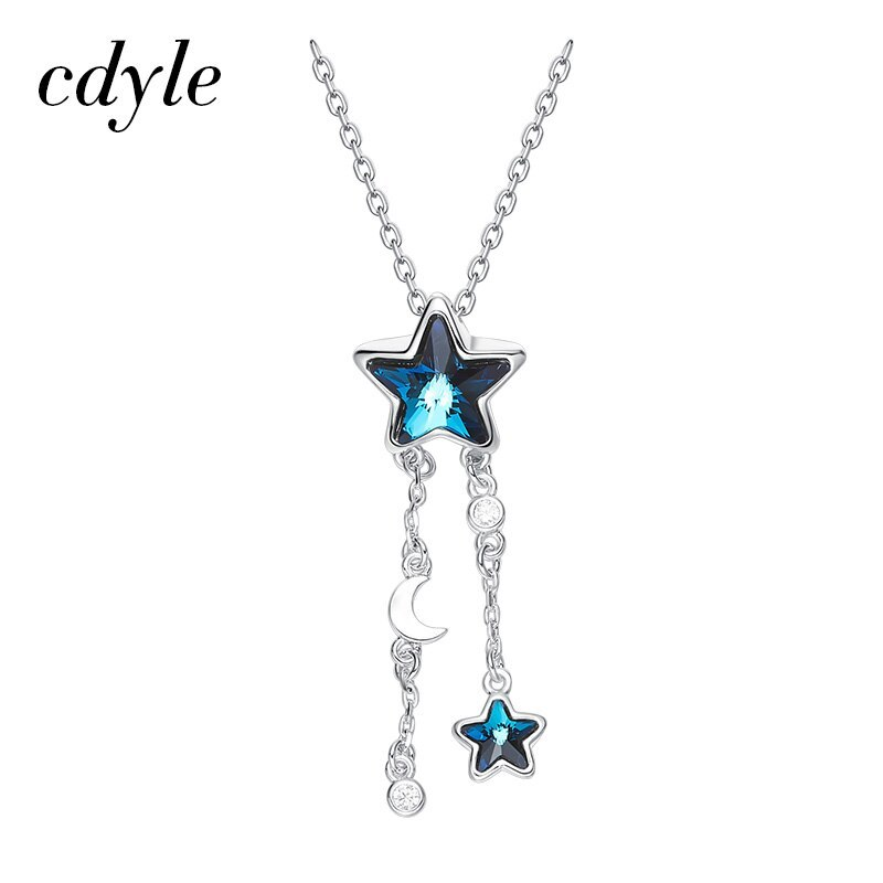 Cdyle Embellished with crystals from Swarovski Women Necklace Pendant Blue Star  image 2