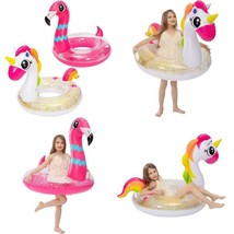 "Joyin Inflatable Unicorn  Flamingo Pool Float With Glitters 35.5"" (2 Set... - $37.04"