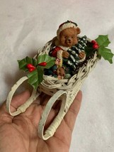 "3"" Tall Vintage Sleigh Sled Bear w Tree Gifts Christmas Decoration - Rare - $29.70"