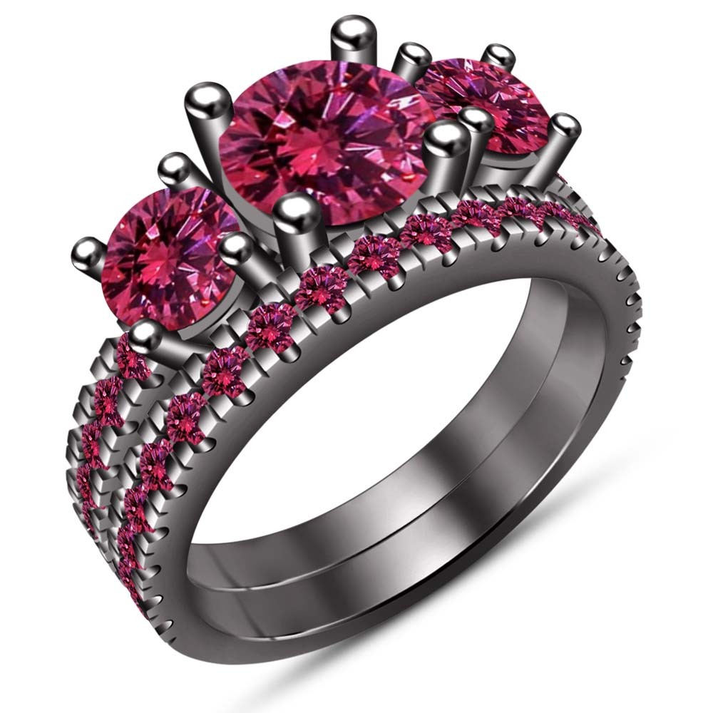 Three Stone Bridal Ring Set 14k Black Gold Fn 925 Silver Round Cut Pink Sapphire